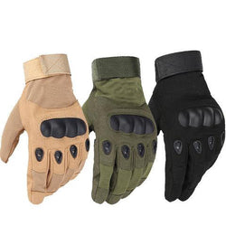 Military Tactical Army Combat Carbon Leather Knuckle Guard Gloves (Full and Half-Finger)