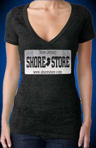 Shore Store Gray License Plate Burnout V-Neck