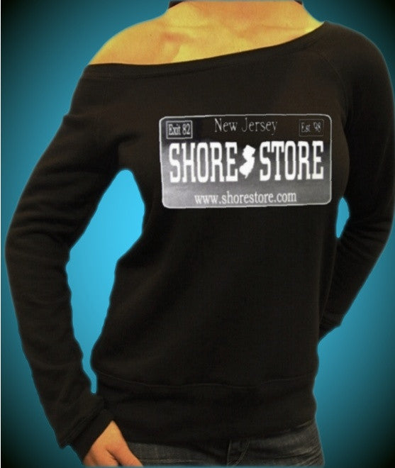 Shore Store Silver License Plate Off The Shoulder Top