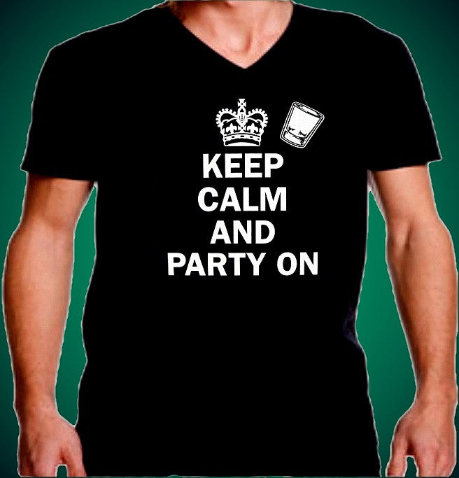 Keep Calm Party On V-Neck
