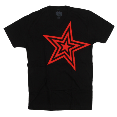 Pauly D Mens Black V-Neck with Red Star