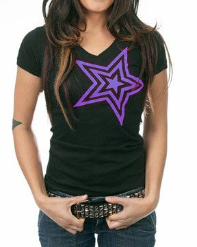 Pauly D Womens Black V-Neck with Purple Star