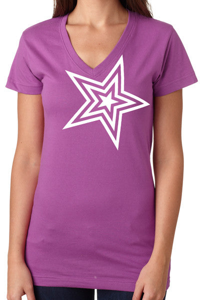 Pauly D Womens Purple V-Neck with White Star
