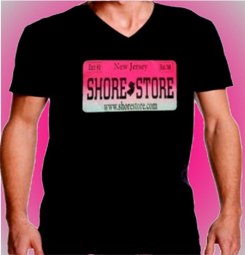 Shore Store License Plate Hot Pink V-Neck