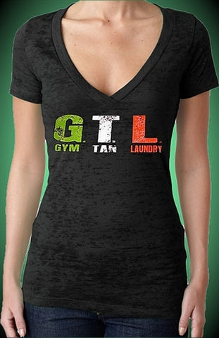 GTL Gym Tan Laundry Burnout V-Neck Women's