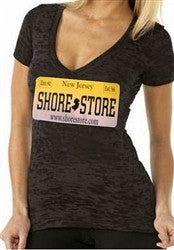 Shore Store License Plate Burnout V-Neck Women's