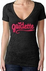 Guidette Hot Pink Burnout V-Neck