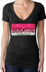 Shore Store License Plate Hot Pink Burnout V-Neck Women's