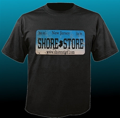 Shore Store License Plate Aqua-Distressed T-Shirt