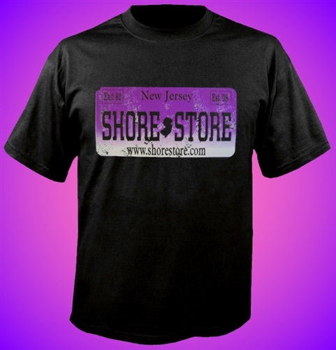 Shore Store License Plate Purple Distressed T Shirt