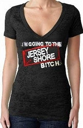 I'm Going to the Jersey Shore Bitch Burnout V-Neck Women's