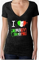 I Heart Jersey Shore Burnout V-Neck Women's
