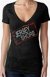 Jersey Shore Logo Rhinestone Burnout V- Neck Women's