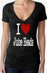 I Heart Juice Heads Burnout V-Neck Women's