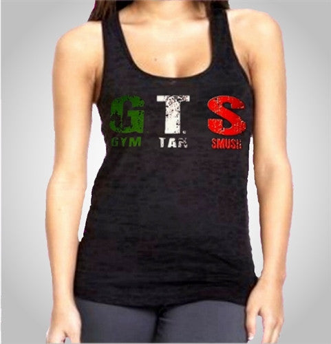GTS Gym Tan Smush Burnout Tank Top Women's (Dark Purple Shown)