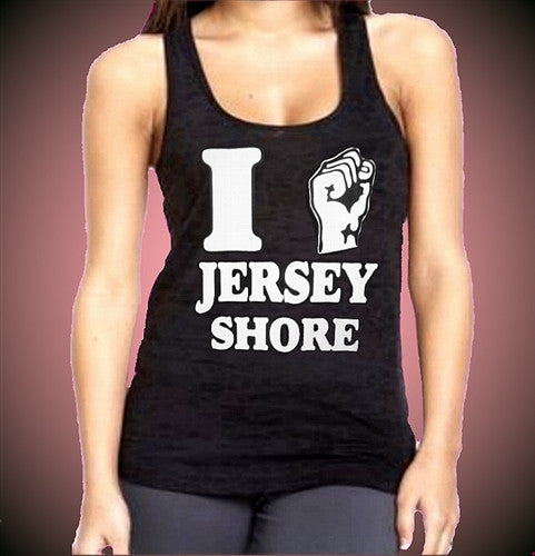 I Fist Pump Jersey Shore Burnout Tank Top Women's (Dark Purple Shown)