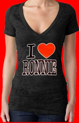 I Heart Ronnie Burnout V-Neck Women's