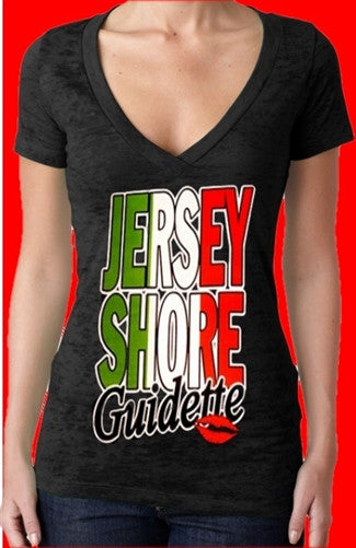 Jersey Shore Guidette Burnout V-Neck Women's