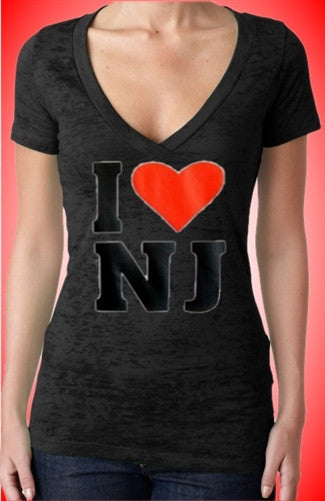 I Heart NJ Burn Out V-Neck Women's