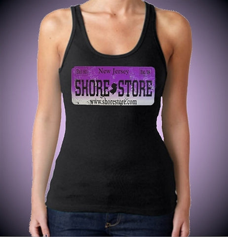 Shore Store License Plate Purple Distressed Women's Tank Top