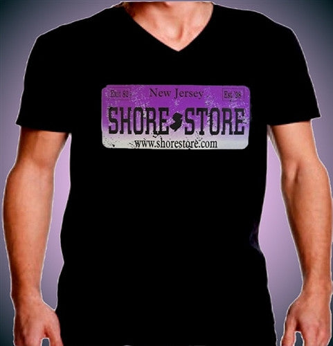 Shore Store License Plate Purple Distressed   V-Neck