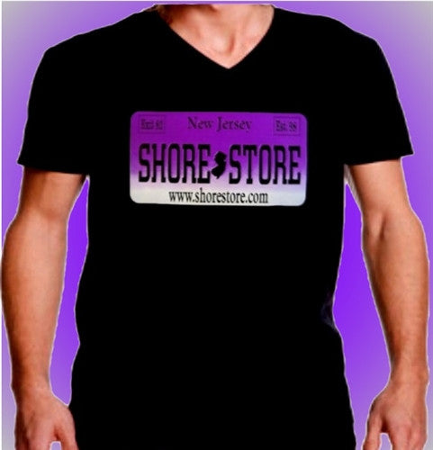 Shore Store License Plate Purple    V-Neck