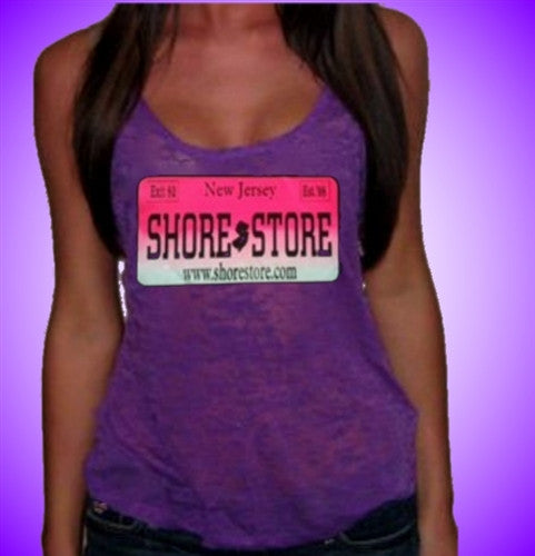 Shore Store License Plate Hot Pink  Burnout Tank Top Women's (Dark Purple Shown)