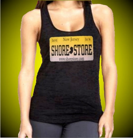 The Shore Store license plate is the uniform at the T-Shirt shop for Season 3.   Burnout Tank Top Women's (Dark Purple Shown)