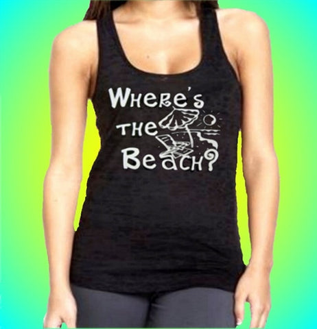 Where's The Beach? Burnout Tank Top Women's (Dark Purple Shown)