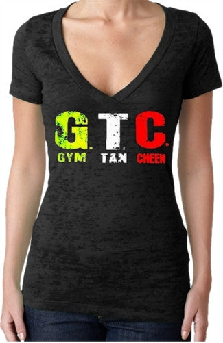 GTC Gym, Tan, Cheer Burnout V-Neck Women's