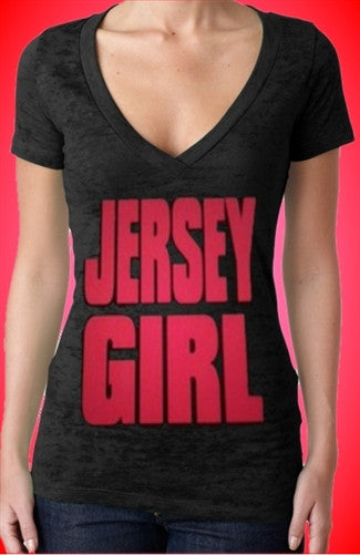 Jersey Girl Hot Pink Burnout V-Neck Women's
