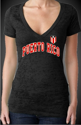Puerto Rico Burnout V-Neck Womens