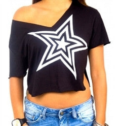 Black Crop Top With White Star Women's