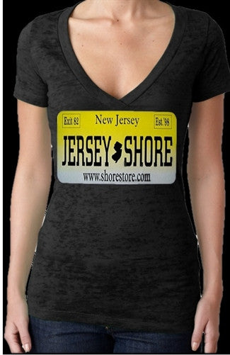 Jersey Shore License Plate Burnout V-Neck Women's