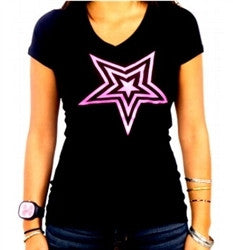Pauly D Black Shirt With Pink Star Womens V-neck