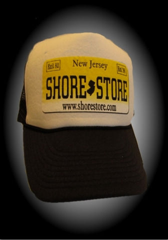 Black and White  Hat With Yellow Decal