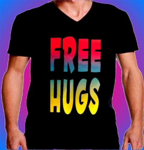 Free Hugs Neon V-Neck Men's