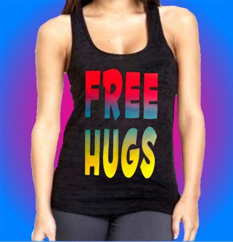 Free Hugs Neon Burnout Tank Top  Women's