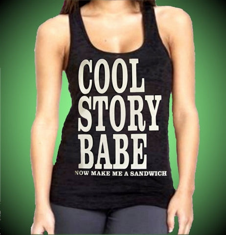 Cool Story Babe Burnout Tank Top Womens's