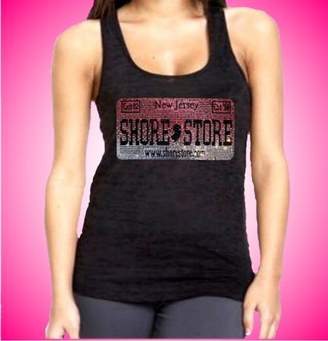 Shore Store License Plate Pink Rhinestone Burnout Tank Top