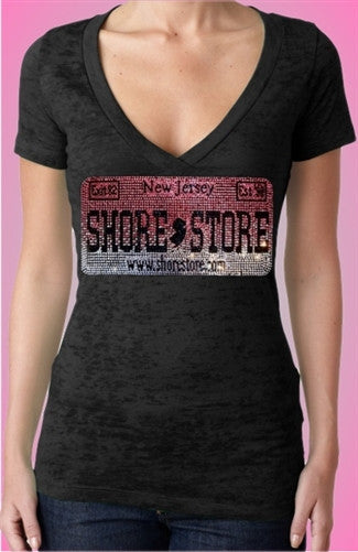 Shore Store License Plate Pink Rhinestone Burnout V-Neck Women's