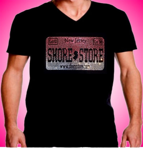 Shore Store License Plate Pink Rhinestone  V-Neck Men's