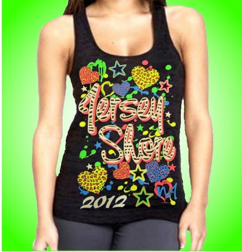 Jersey Shore Stars And Hearts Burnout Tank Top Women's