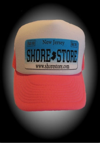 Shore Store License Plate Pink/White Hat- Blue Plate
