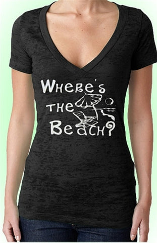 Wheres The Beach Burnout V-Neck W 95
