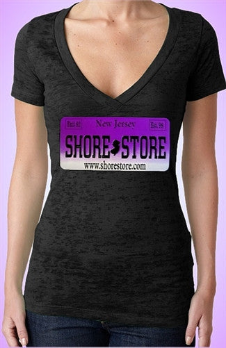 Shore Store License Plate Purple Burnout V-Neck W 384