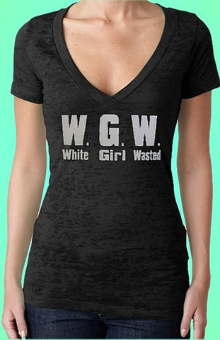 White Girl Wasted Burnout V-Neck W 367