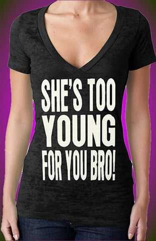 Shes Too Young Burnout V-Neck W 414