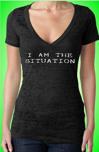 I Am The Situation Burnout V-Neck W 27