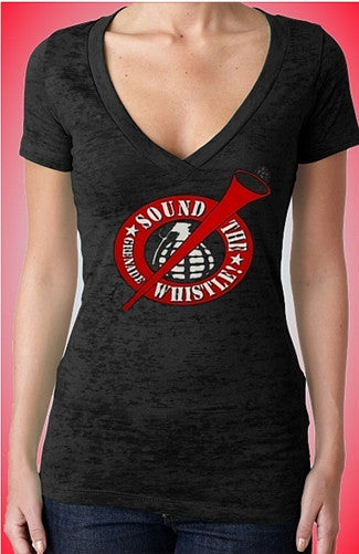 Sound The Grenade Whistle! Burnout V-Neck W 21